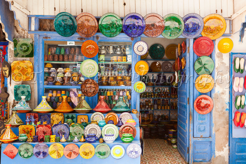 Colorful displays in the shops of the souq in Essaouira, Morocco.