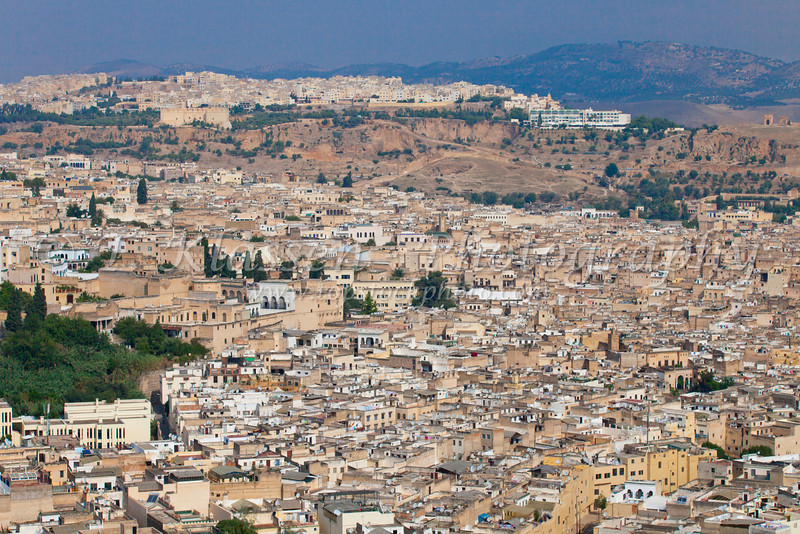 A view of Fes Morocco from an elevated position.