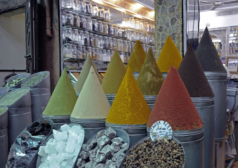 Spices, Marrakech, Mon 28 April 2014.  NB the Viagra Berbere at bottom right!