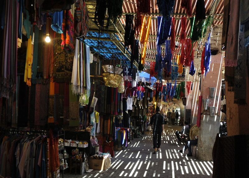 Souk, Marrakech, Mon 28 April 2014.  Souk = market, where craftsmen make and sell their products.