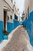 Narrow streets and alleys in the Oudayas Casbah in Rabat, Morocco.