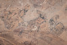 Closeup of fossils embedded in rock and polished for display at the Macro Fossils Kasbah near Erfoud, Morocco.
