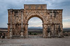 A restored arch in the ruins of the Roman Volubilis near Moulay Idriss, Morocco.