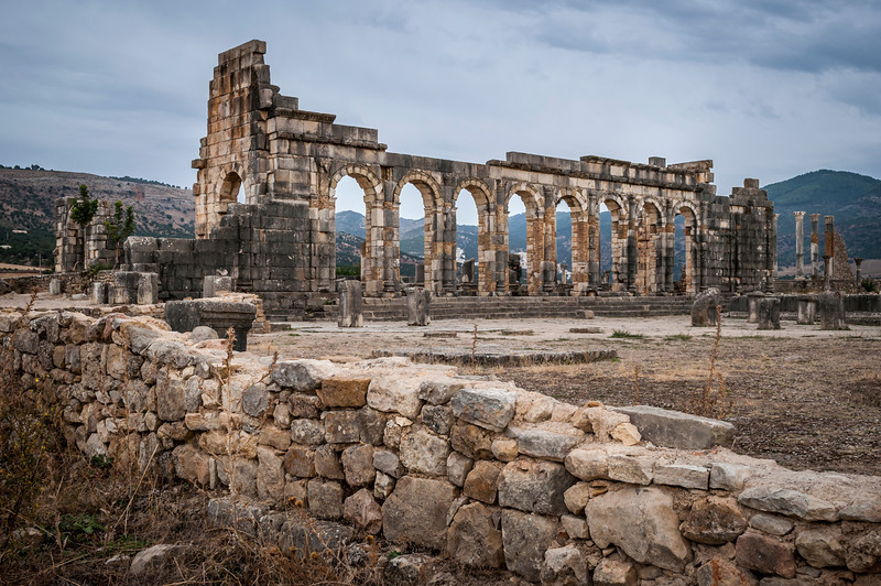 The Basilica at the Volubilis archaeological site near Moulay Idriss, Morocco.