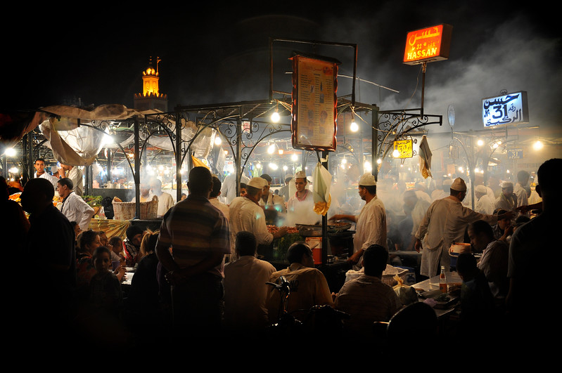 Food stalls in Marrakech's Jemaa el Fna at night. 2010.
