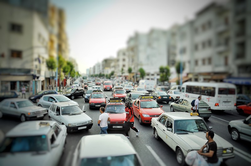 Traffic jam at rush hour in Casablanca. 2006.