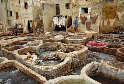 Tanneries in Fes Medina