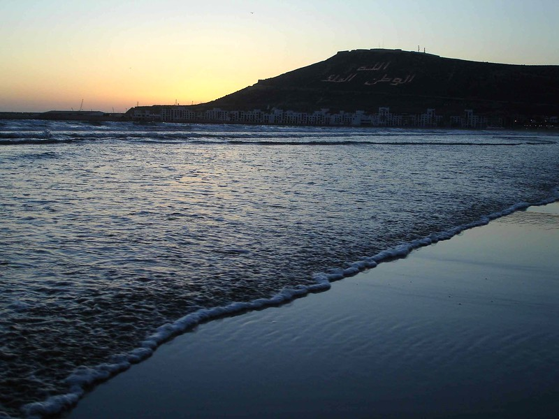 Agadir beach at sunset. 2006.