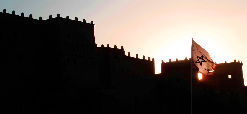Kasbah walls in Ouarzazate at sunset. 2006.