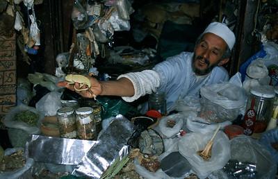 MOROCCO 2003/ 005Taroudant.  In de souks  worden kameleons verkocht. Vraagprijs: 4 euro. Kooi incluis.