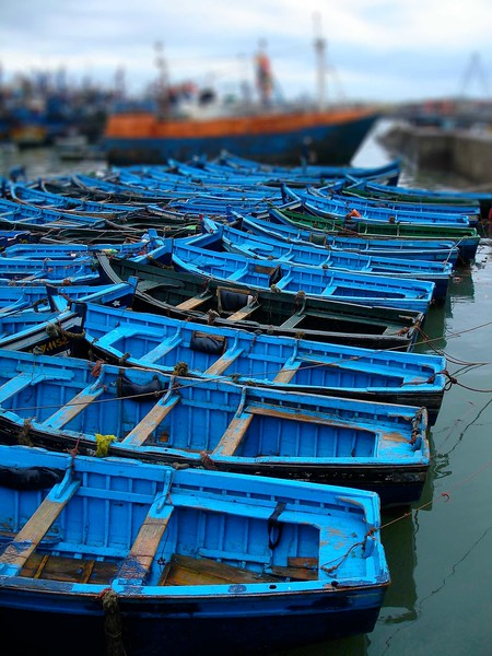 Blue boats in Essaouira. 2005.