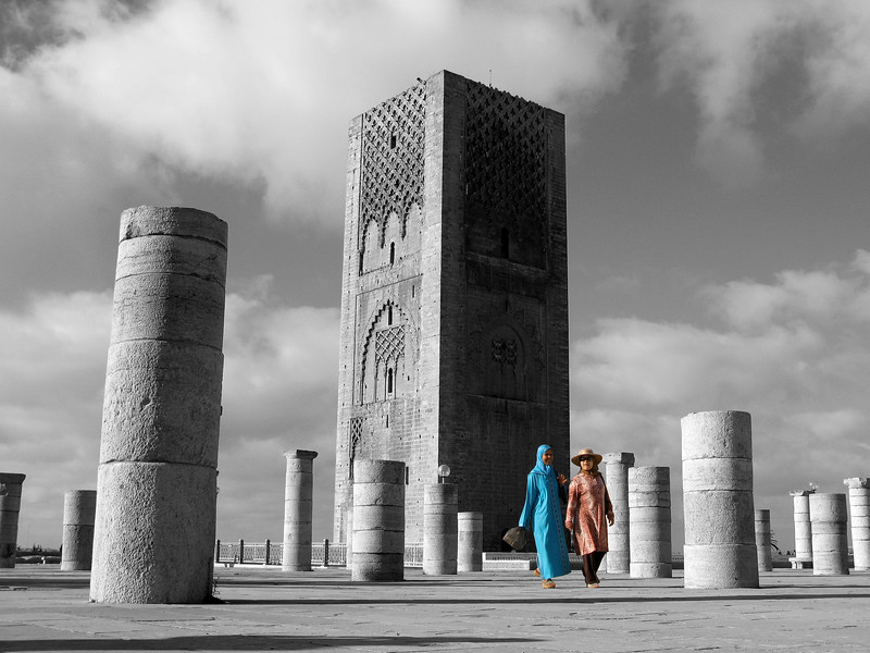 Women walking in front of the Hassan Tower in Rabat. 2007.
