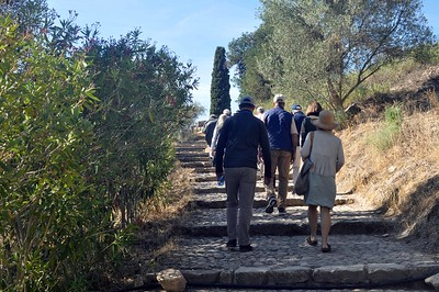 climbing the road to the archeological site