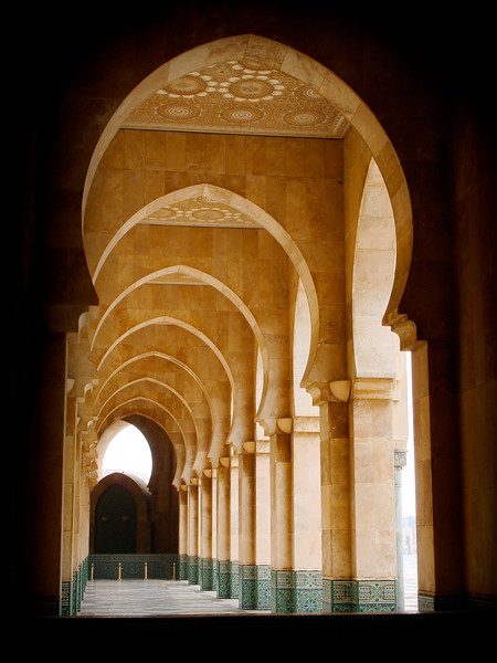 Arches of Hassan II Mosque in Casablanca. 2007.