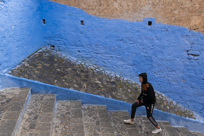 Pedestrian in the Blue City of Chefchouen