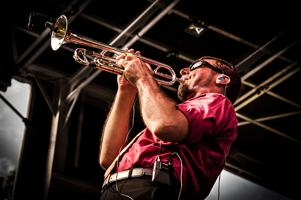 Trumpet player with the Louis Prima, Jr. Band performs at the Morristown Jazz and Blues Festival.  August 19, 2017