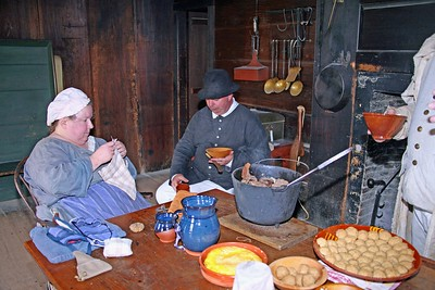 Enjoying a Meal at the Wick House During the Winter Encampment