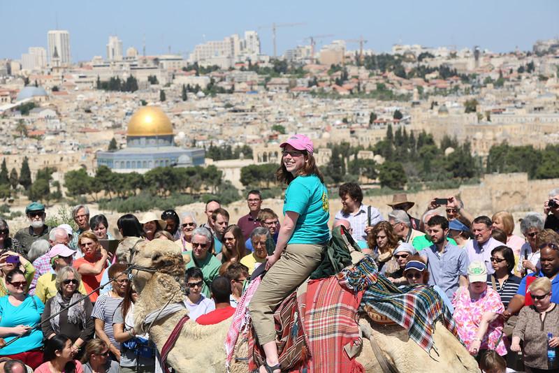 Ginna Bairby on a camel