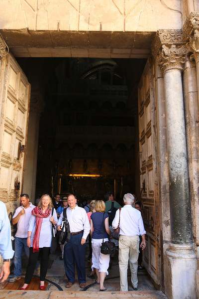 Sara Lisherness and Ron Shive at the door of the Church of the Holy Sepulcher