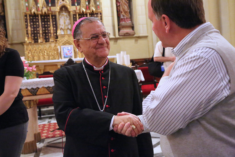 Ron Shive is greeted by His Beatitude Patriarch Fouad Twal