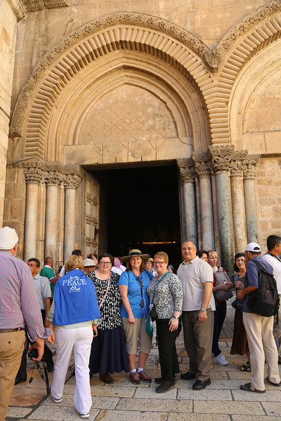 Mosaic of Peace team at the door of the Church of the Holy Sepulcher