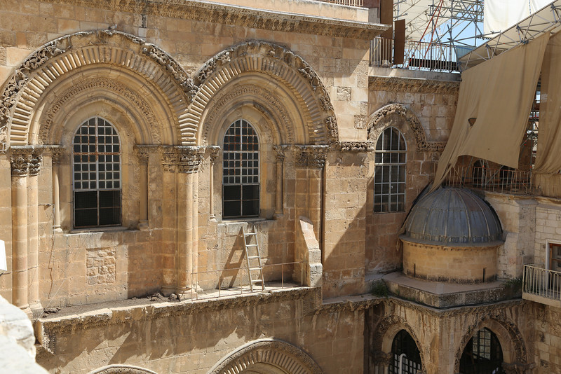 the 'status quo ladder' at the Church of the Holy Sepulcher