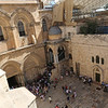 looking down into the courtyard of the Church of the Holy Sepulcher