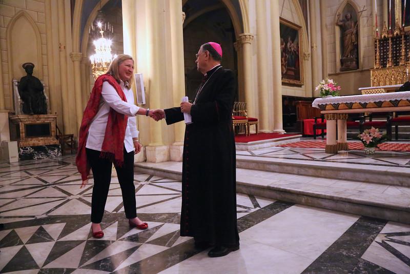 Sara Lisherness greets His Beatitude Patriarch Fouad Twal
