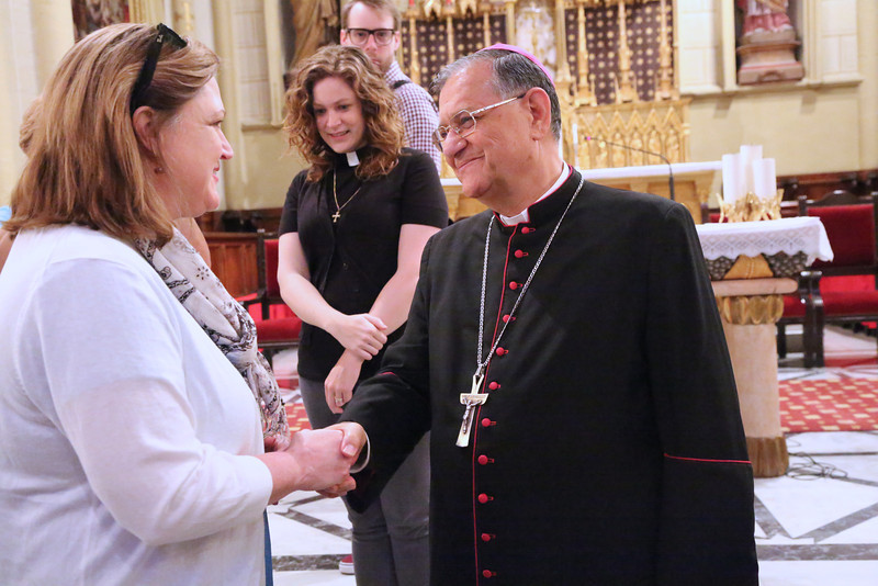 Kathy Francis is greeted by His Beatitude Patriarch Fouad Twal