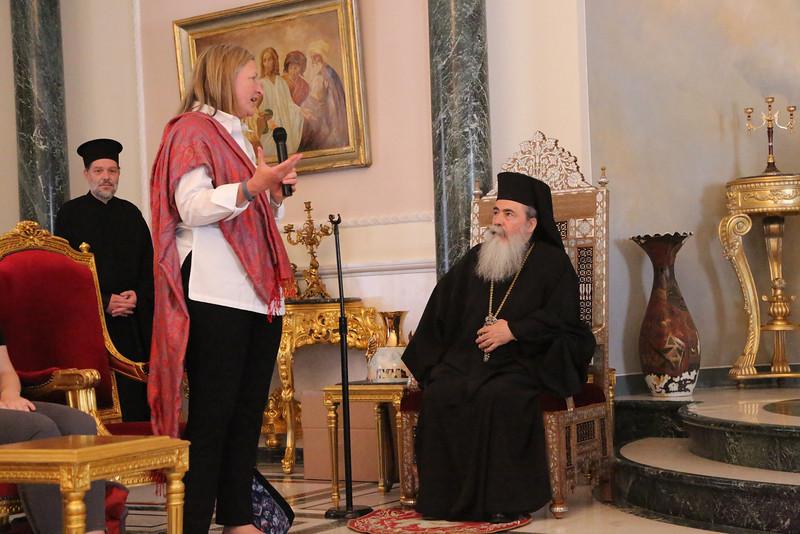 Sara Lisherness with His Beatitude Patriarch Theolpholis III
