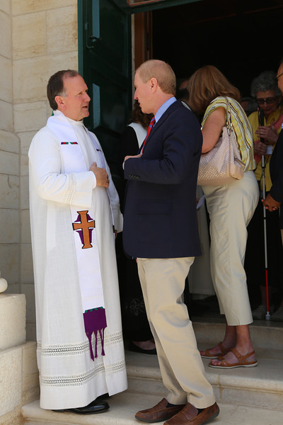 Rev. Ron Shive greets Rev. Tom Taylor