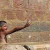Palestinian children playing in the fresh water spring of Battir