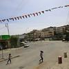 Palestinian girls crossing the street