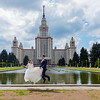 Newly-weds at Moscow University Building