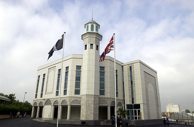 Mosque with flags