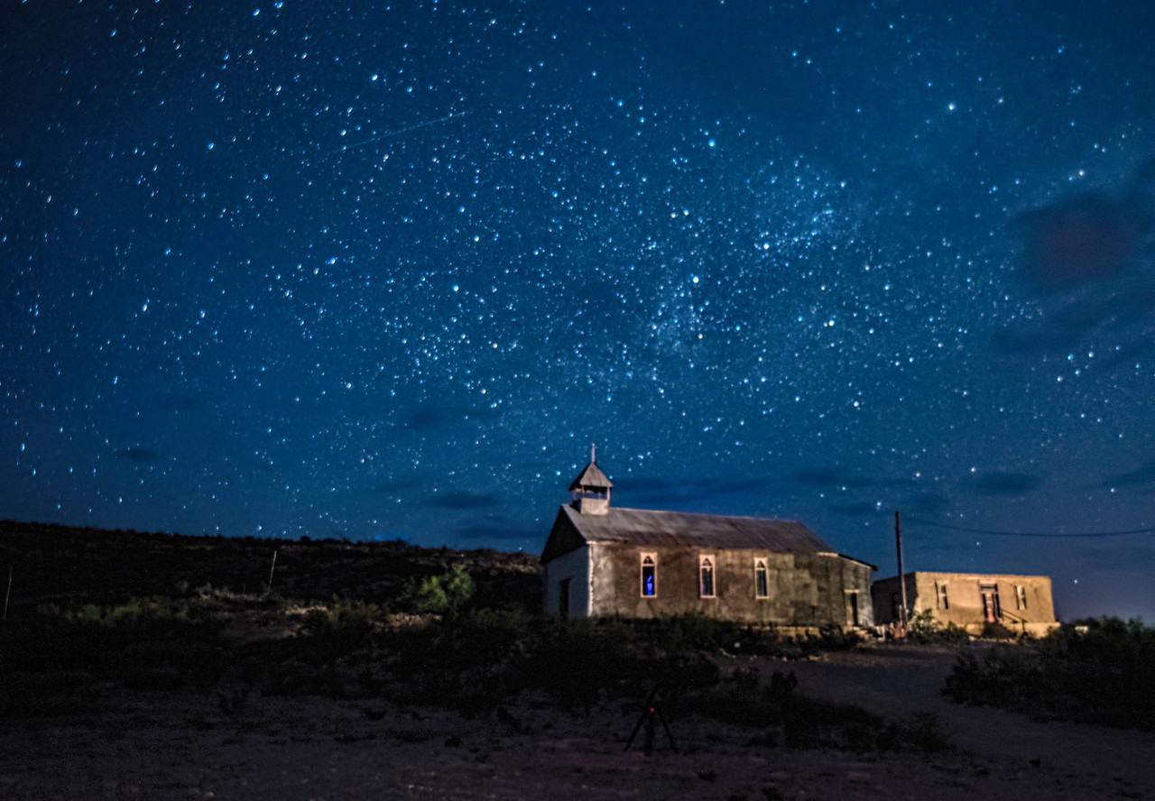 Terlingua Ghost Town Church under the stars