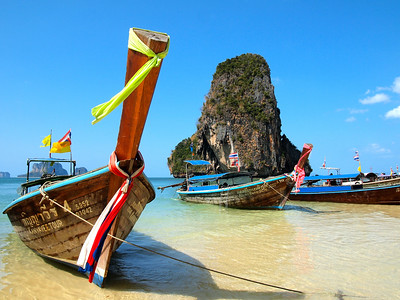 Longtail Boats at Railay Beach in Thailand