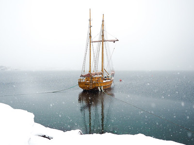 Ship in a Snowstorm in Norway
