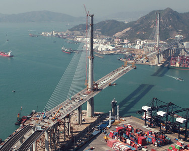 Stonecutters Bridge looking towards Tsing Yi.