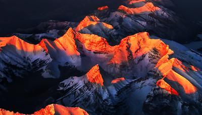 Mt Bogart and Ribbon Peak, 21K SE of Canmore  Mt Kidd on the bottom edge