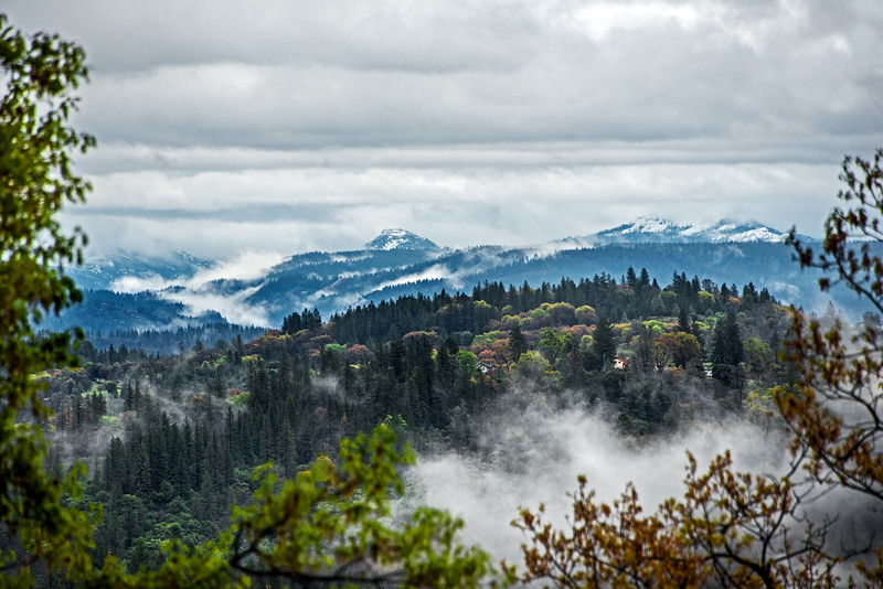 The Emigrant Gap Layered in Spring Mist