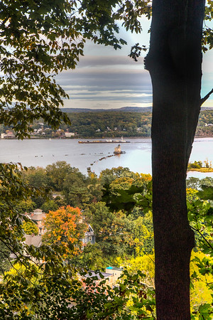 View from Hasbrouck Park, including Rondout Light and Hudson River, Kingston, New York, USA