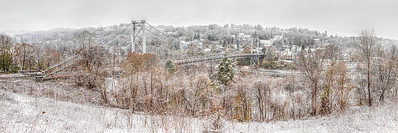 View of Kingston, New York in the snow, shot from Port Ewen