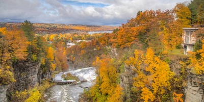 View from Thurston Ave  Bridge over Fall Creek, Ithaca, New York