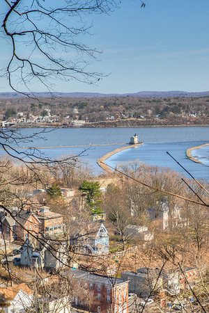 Rondout Light House and Ponckhockie Neighborhood, seen from Hasbrouck Park, Kingston, NY