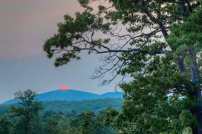 Sunset over Catskill Mountains, seen from mobile home park above Hurley Mountain Road, Hurley, New York, USA