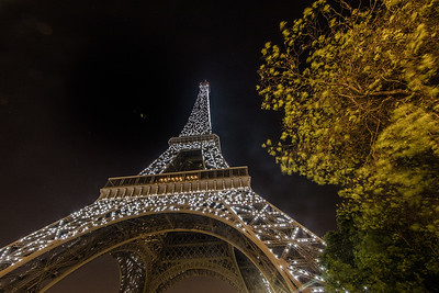 The 1 AM light show ends at Eiffel Tower, Paris, France