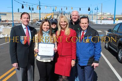 Senator Richard Blumenthal, Alana Galloway, Sara Herbert-Galloway, News12's Frank Recchia. Back: Sonya Finch and husband Mayor Bill Finch, Bridgeport, CT.