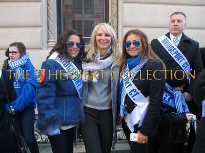 Sara Herbert-Galloway with residents of Bridgeport CT at Greek American Day Parade