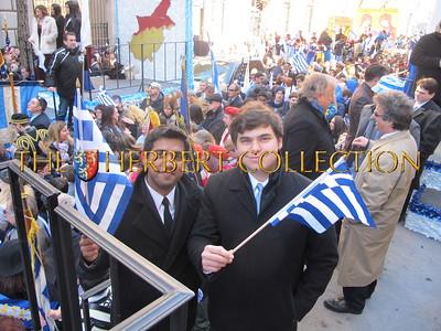 A friend celebrating Greek Independence Day with John Catsimatidis Jr.